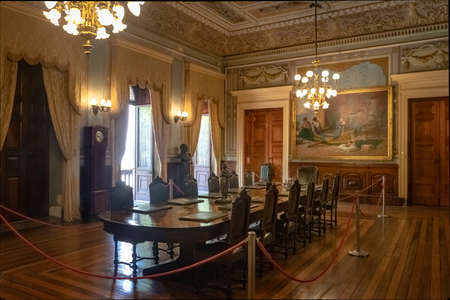 Rio de Janeiro, Brazil - Oct 24, 2017: Catete Palace Ministerial room, the former presidential palace now houses the Republic Museum - Rio de Janeiro, Brazil