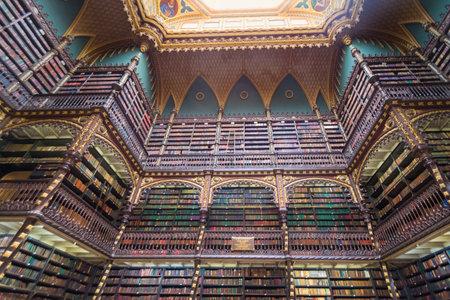 Rio de Janeiro, Brazil - Oct 26, 2017: Royal Portuguese Cabinet of Reading interior - Rio de Janeiro, Brazil