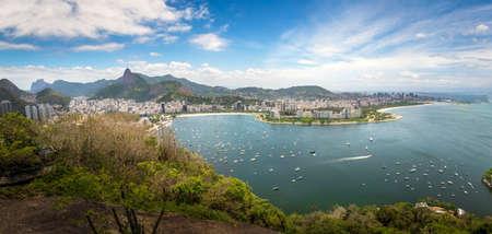 Panoramic aerial view of Rio de Janeiro and Guanabara Bay with Corcovado Mountain - Rio de Janeiro, Brazil
