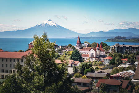 Aerial view of Puerto Varas with Sacred Heart Church and Osorno Volcano - Puerto Varas, Chile Stok Fotoğraf