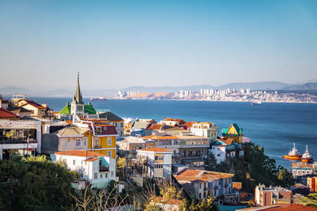 Aerial view of Valparaiso with Lutheran Church from Cerro Carcel Hill - Valparaiso, Chile 免版税图像