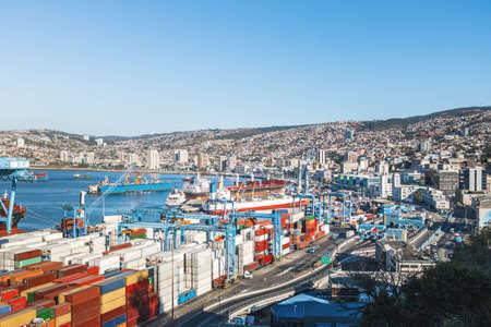 Aerial view of Valparaiso Harbor from Paseo 21 de Mayo at Cerro Artilleria Hill - Valparaiso, Chile