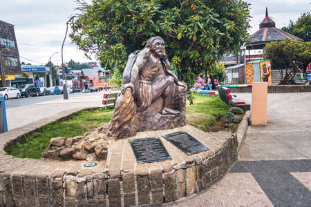 The Invunche mythological creature sculpture at Plaza de armas square - Ancud, Chiloe Island, Chile Editorial