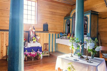 Church of Aldachildo interior - Chiloe Island, Chile