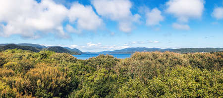 High view of Chiloe National Park at Mirador del Sur viewpoint - Chiloe Island, Chile Stockfoto