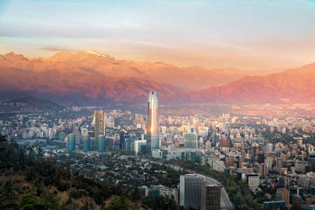 Aerial view of Santiago skyline at sunset with Costanera skyscraper - Santiago, Chile