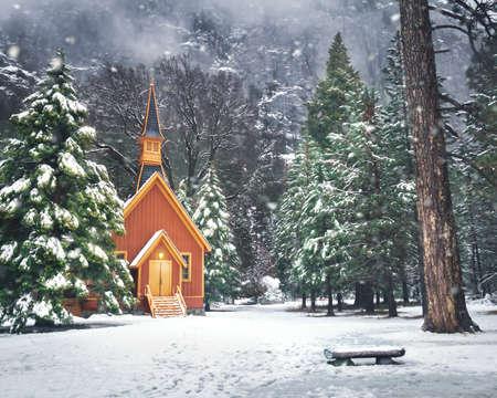 Yosemite Valley Chapel at winter with snow - Yosemite National Park, California, USA 写真素材