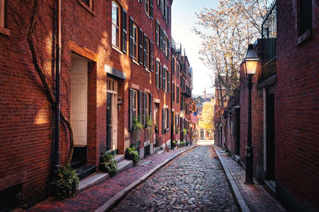 Acorn Street - Boston, Massachusetts, USA 版權商用圖片