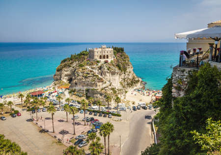 Aerial view of Santa Maria dell'Isola Church - Tropea, Calabria, Italy