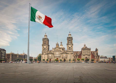 Plaza del Zócalo y Catedral de la Ciudad de México - Ciudad de México, México Foto de archivo
