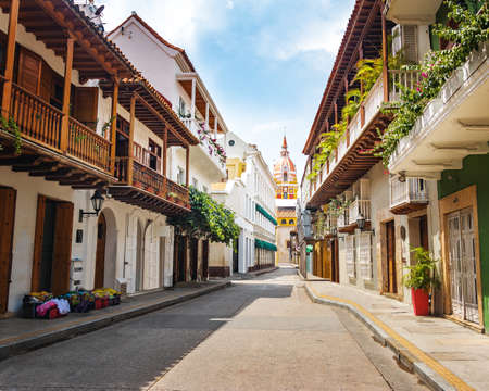 Street view and Cathedral - Cartagena de Indias, Colombia