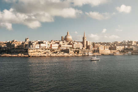 Valletta skyline from Sliema with Basilica of Our Lady of Mount Carmel - Valletta, Malta