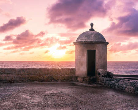 Purple Sunset over Defensive Wall - Cartagena de Indias, Colombia 写真素材