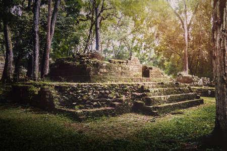 Ruins of residential area of Mayan Ruins - Copan Archaeological Site, Honduras 写真素材
