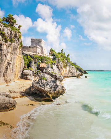El Castillo and Caribbean beach - Mayan Ruins of Tulum, Mexico 写真素材
