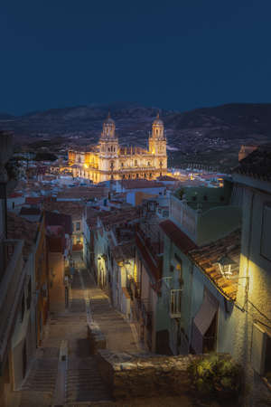 Jaen city at night with its steep streets, colorful houses and Cathedral - Jaen, Andalusia, Spain