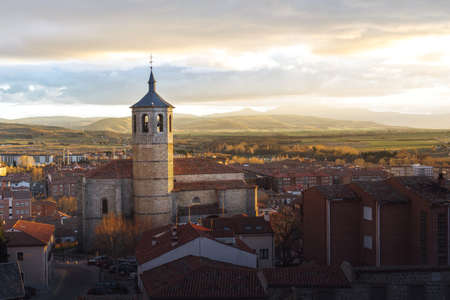 Aerial view of Avila at sunset with Santiago Church - Avila, Castile and Leon, Spain