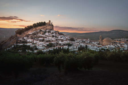 Aerial view of Montefrio city at sunset - Montefrio, Granada Province, Andalusia, Spain