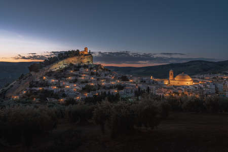 Aerial view of Montefrio city at night - Montefrio, Granada Province, Andalusia, Spain