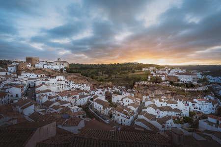 Aerial view of Setenil de las Bodegas at sunrise - Setenil de las Bodegas, Cadiz Province, Andalusia, Spain