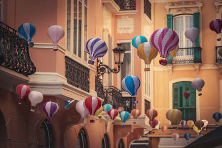 Street decorated with colorful hot air balloons - Malaga, Andalusia, Spain Stock fotó