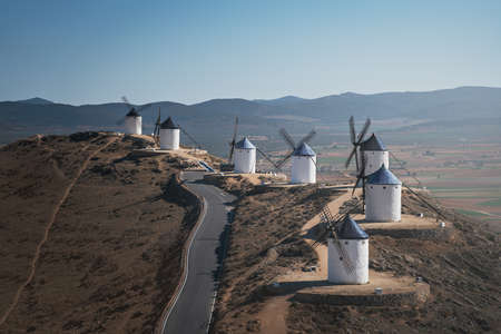Aerial view of Consuegra windmills of La Mancha, famous for Don Quixote stories - Toledo, Castila La Macha, Spain