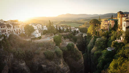 Aerial view of Tajo Gorge at sunrise - Ronda, Malaga Province, Andalusia, Spain
