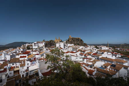 Aerial view of Olvera city with Castle and Cathedral - Olvera, Cadiz Province, Andalusia, Spain