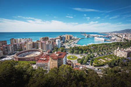 Aerial view of Malaga city - Malaga, Andalusia, Spain