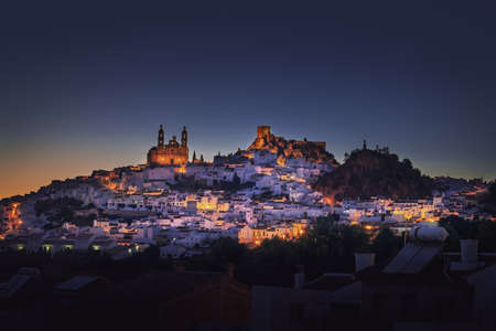 Olvera city with Castle and Cathedral at night - Olvera, Cadiz Province, Andalusia, Spain