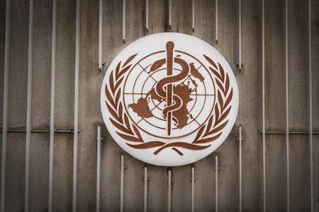 Geneva, Switzerland - December 03, 2019: World Health Organization (WHO / OMS) Logo at WHO Headquarters