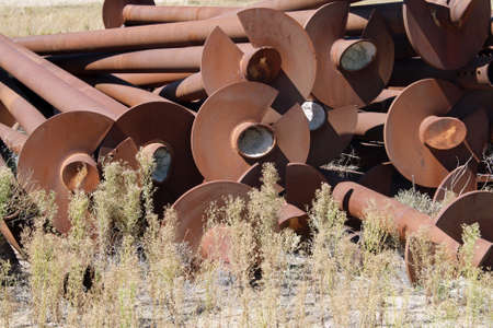 old abandoned metal pipes photo
