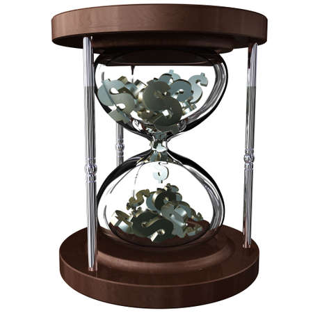 delay: An hourglass with falling dollar symbols instead of sand. Time is money Stock Photo