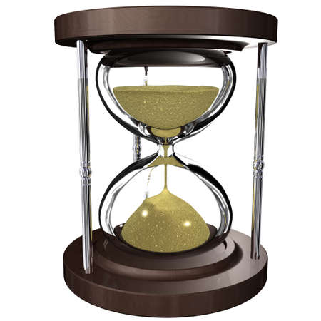 An hourglass with the sand passing. Time is money photo