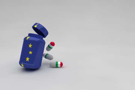 Medicine bottle of the European Union with pills with the flag of Italy. Medicine capsules with the colors of Italy Green White and Red. Pills with white particles for virus or economic vitamin. Archivio Fotografico
