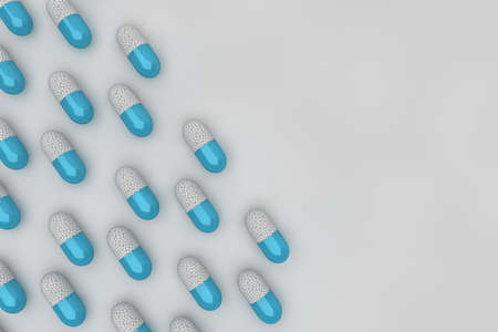 Light blue pill background with white particles Fund of medicine capsules against Covid-19 or any other type of epidemic or pandemic. 3D animation