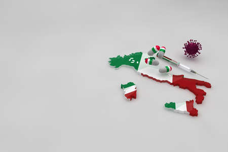 Map of Italy with medicine and vaccine against the covid-19 virus. Pills with the flag of Italy and white medicinal capsules. 3d animation