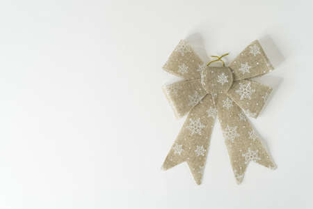 Christmas gold ribbon for home decoration with white background
