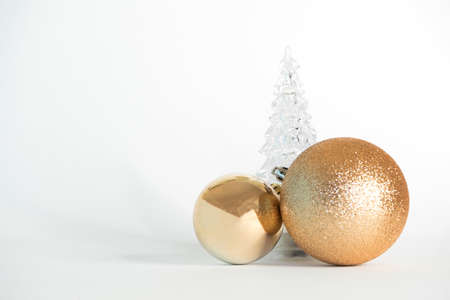 Golden christmas decorations with glass tree Archivio Fotografico