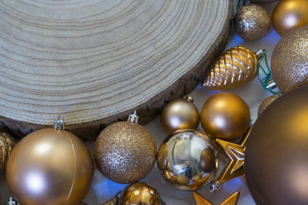 Close up christmas decoration and wooden log