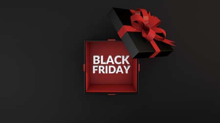 Black Friday text is coming out of a black gift box tied with red ribbon on black