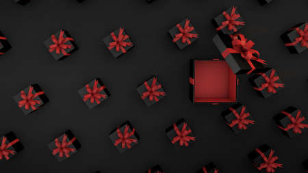 Seamless pattern of black gifts with red ribbon.