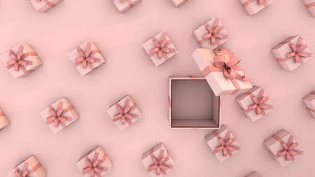 pink gifts an ideal background to celebrate a baby shower or birthday. 3D Render
