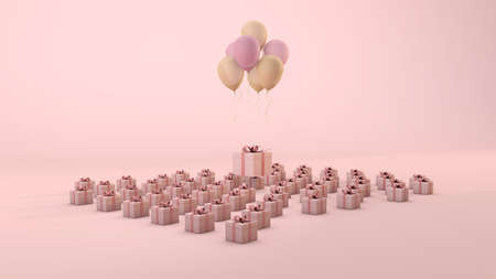 Composition of pink gift boxes with yellow and rose balloons. 3d render with pastel background Archivio Fotografico