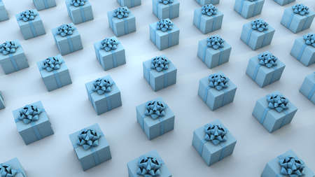 Multiple blue gift boxes organized over blue background. 3D Render Archivio Fotografico