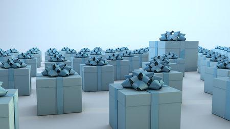 Multiple blue gift boxes. 3D Render