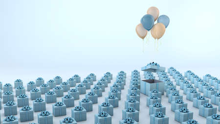 Composition of blue gift boxes with yellow and blue balloons. 3d render with pastel background