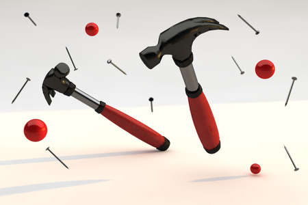 Construction background, two hammers. 3D Render