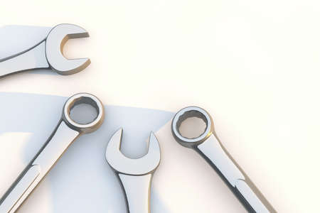 Combination wrenches for repair on white background. 3d render