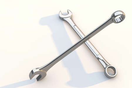 Wrench isolated on white background, 3d render hand tool